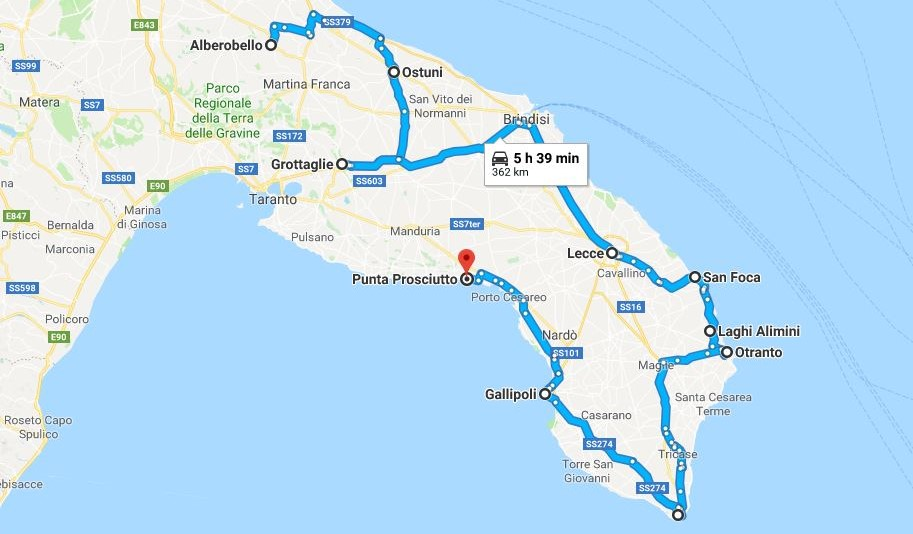Cartina Itinerari Puglia.Salento On The Road Itinerario In 10 Tappe Un Amica In Viaggio
